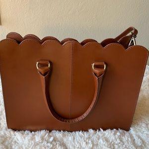 Brown leather scallop shoulder bag// ASOS